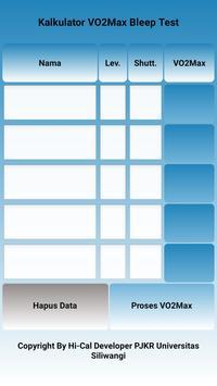 Kalkulator Vo2max Bleep Test screenshot 1