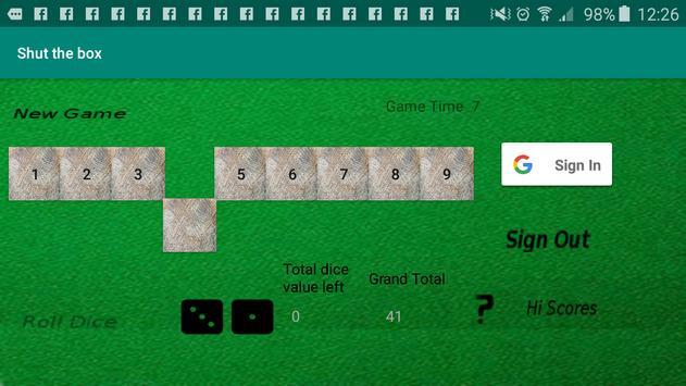 Shut The Box Game screenshot 1