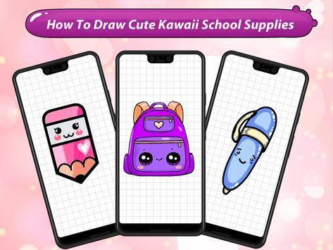 How to Draw Cute Kawaii School Supplies poster