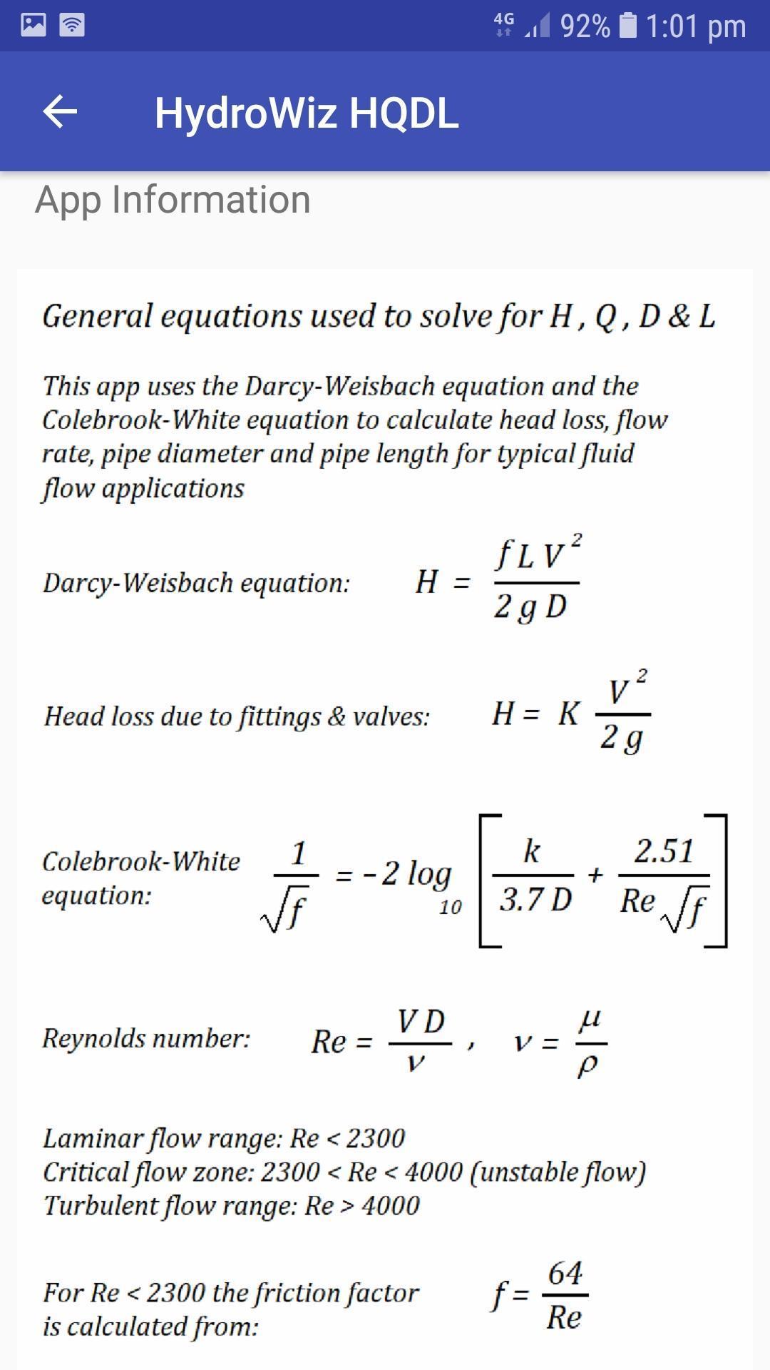 HydroWiz HQDL Pipe Fluid Flow Hydraulic Calculator for