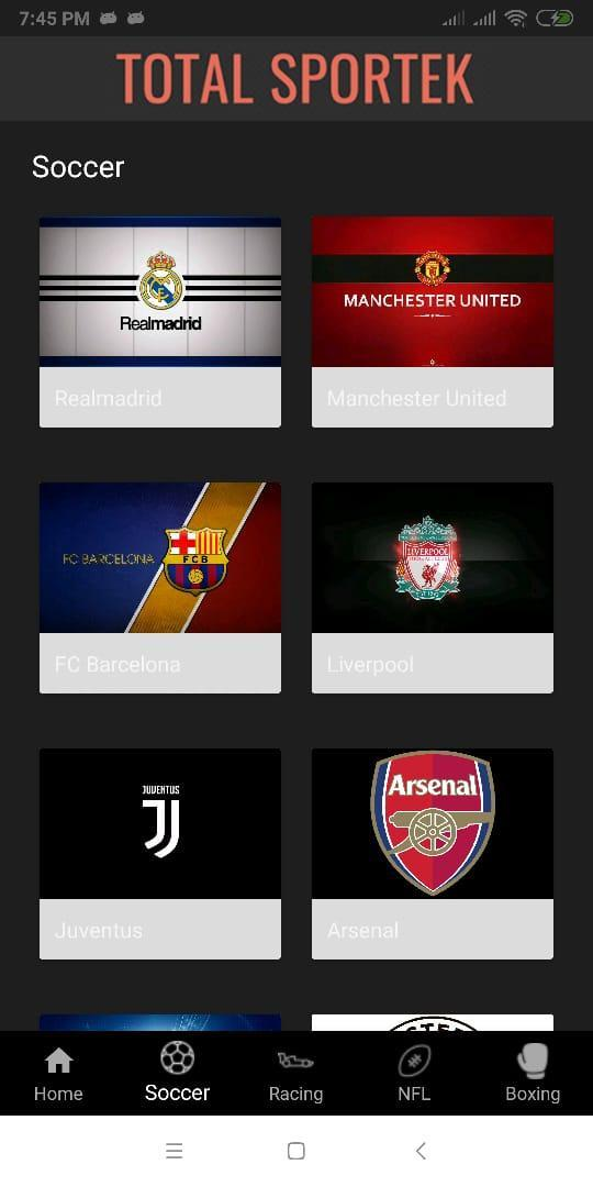 Totalsportek For Android Apk Download Totalsportek live soccer streams and sports news offers free total sportek live streaming english premier league, la liga, serie a, uefa champions league, bundesliga, boxing, ufc, formula 1. totalsportek for android apk download