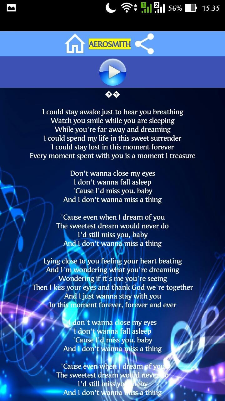 I Don't Want to Miss a Thing Song for Android - APK Download