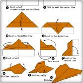 die Idee, Origami-Papierflieger herzustellen Zeichen