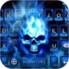 ikon Tema Keyboard Skull Flaming