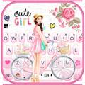 Floral Bicycle Girl Keyboard Theme