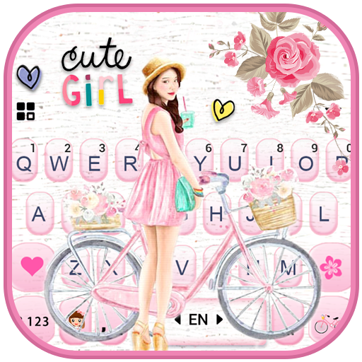 Floral Bicycle Girl Keyboard Theme