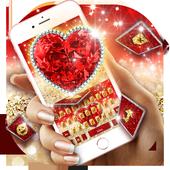 Golden Red Luxury Heart Keyboard Theme icon
