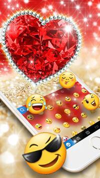 Golden Red Luxury Heart Keyboard Theme screenshot 1