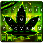Live Neon Green Leafs Keyboard Theme icon