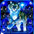 Neon Blue Tiger King Keyboard Theme