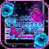 Klawiatura motywów Neon Flower Butterfly ikona