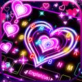 Neon Lights Heart Keyboard Theme