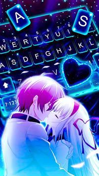 ثيم لوحة المفاتيح Romantic Neon Kiss تصوير الشاشة 1