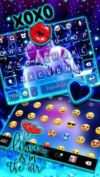 ثيم لوحة المفاتيح Romantic Neon Kiss تصوير الشاشة 2