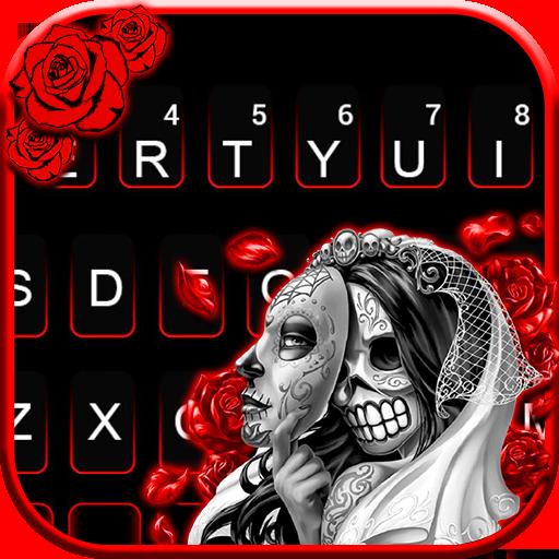 Skull Bride Mask Keyboard Theme