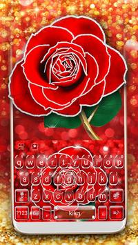 Silver Glitter Red Rose poster