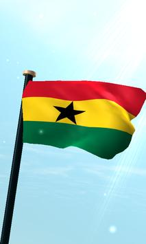 Ghana Flag 3D Free Wallpaper poster