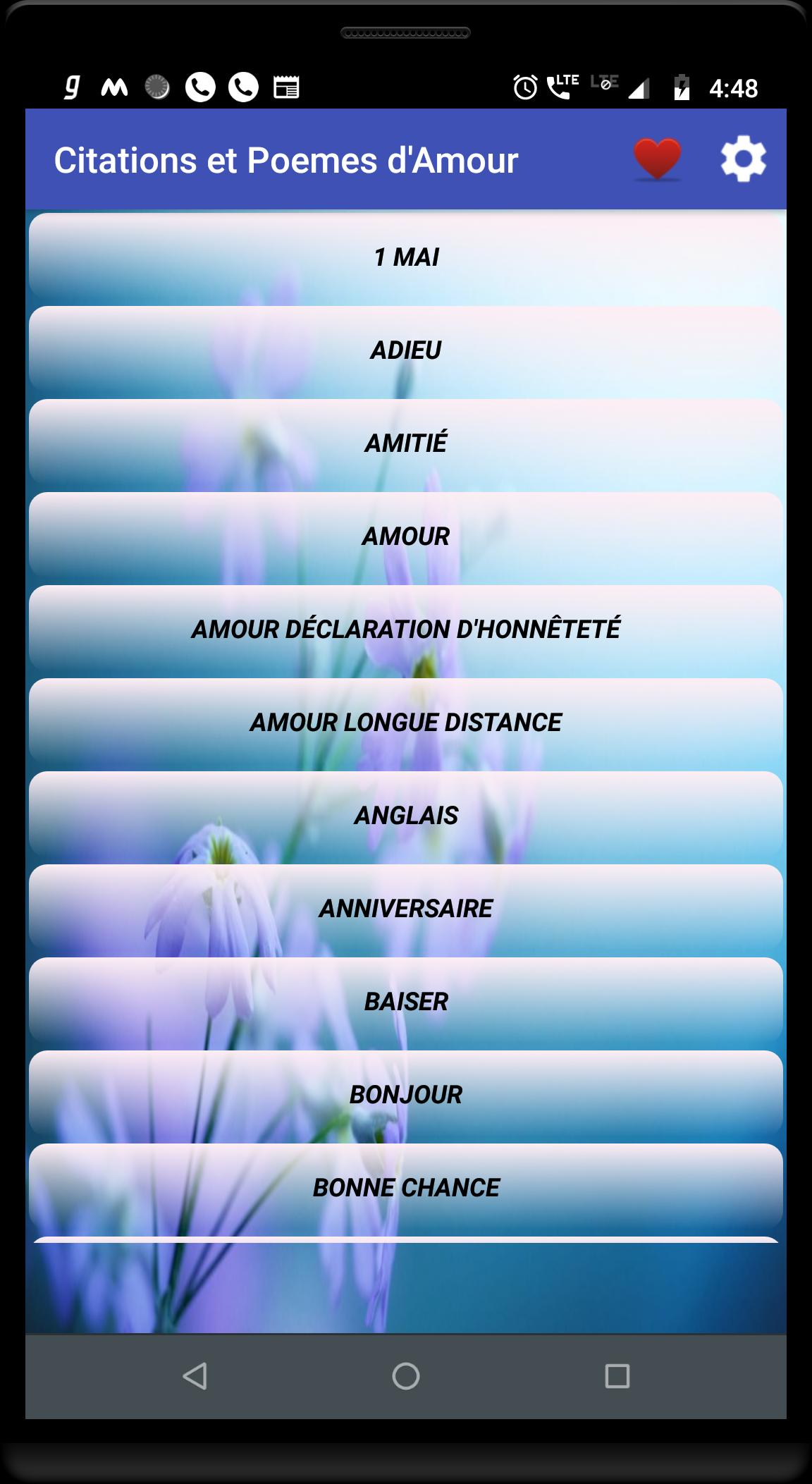Citations Et Poèmes Damour For Android Apk Download