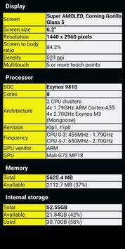 Informations du téléphone capture d'écran 1