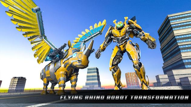 Police Flying Rhino Robot Transform Robot Shooting screenshot 10