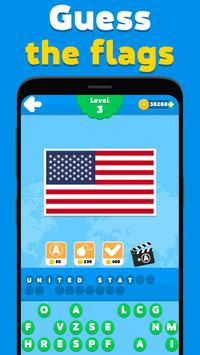 Flags quiz game - guess the flag on the picture poster