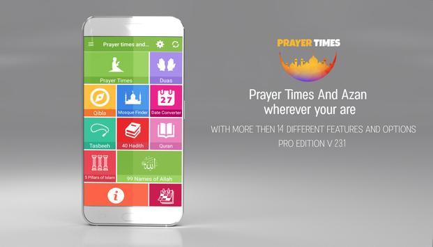 Prayer Times PRO , Auto Azan Reminder poster