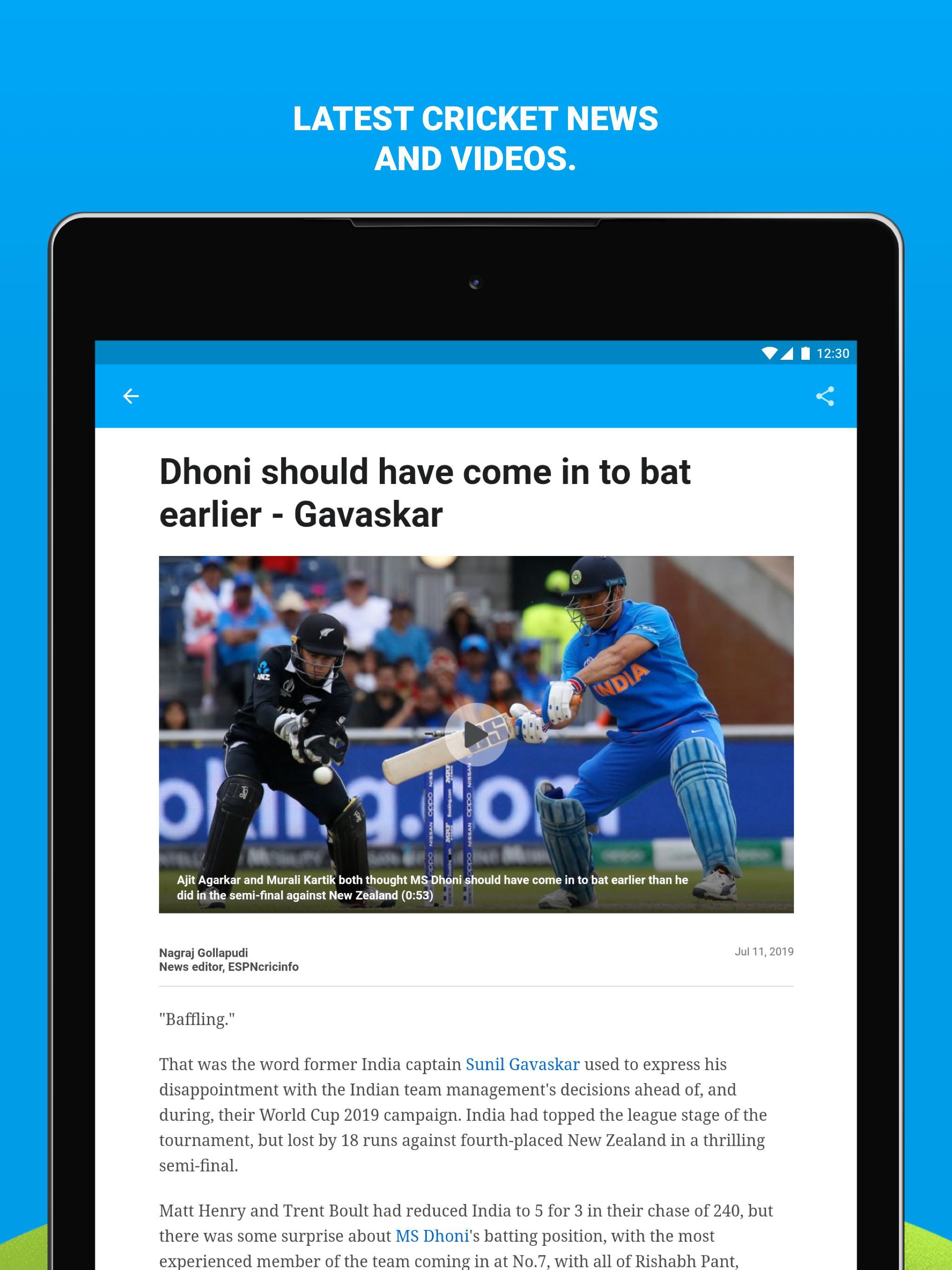 ESPNCricinfo - Live Cricket Scores, News & Videos for