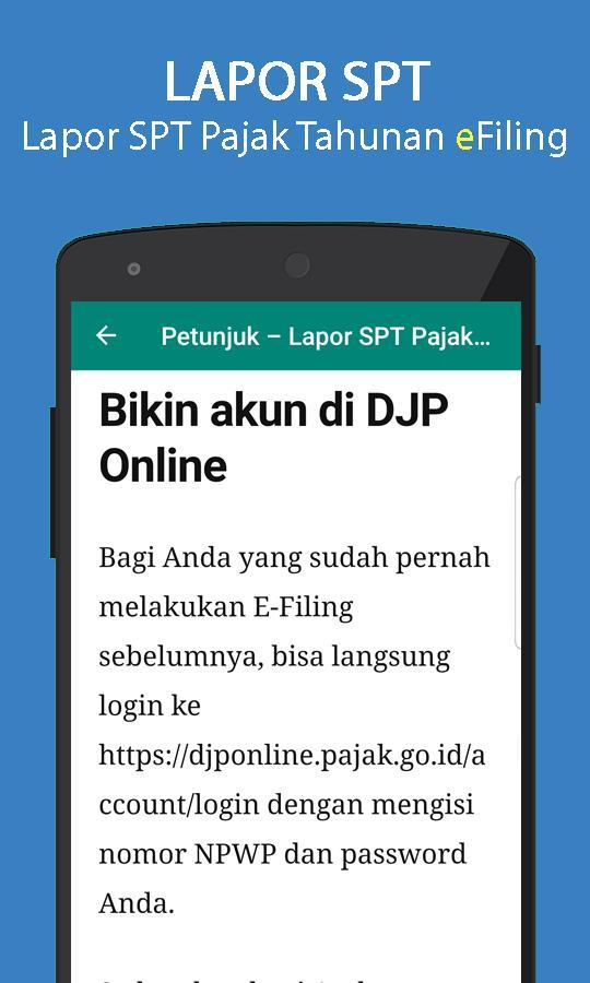 Cara Lapor Spt Pajak Tahunan For Android Apk Download