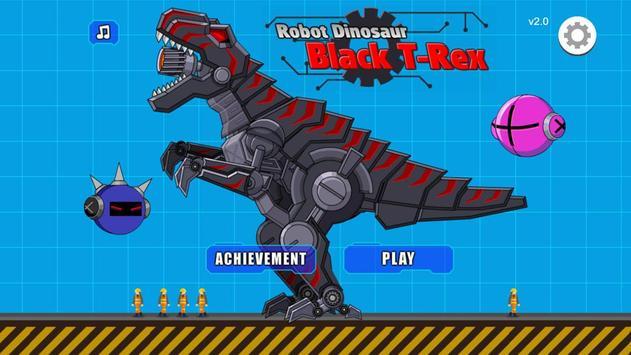 Robot Dinosaur Black T-Rex poster