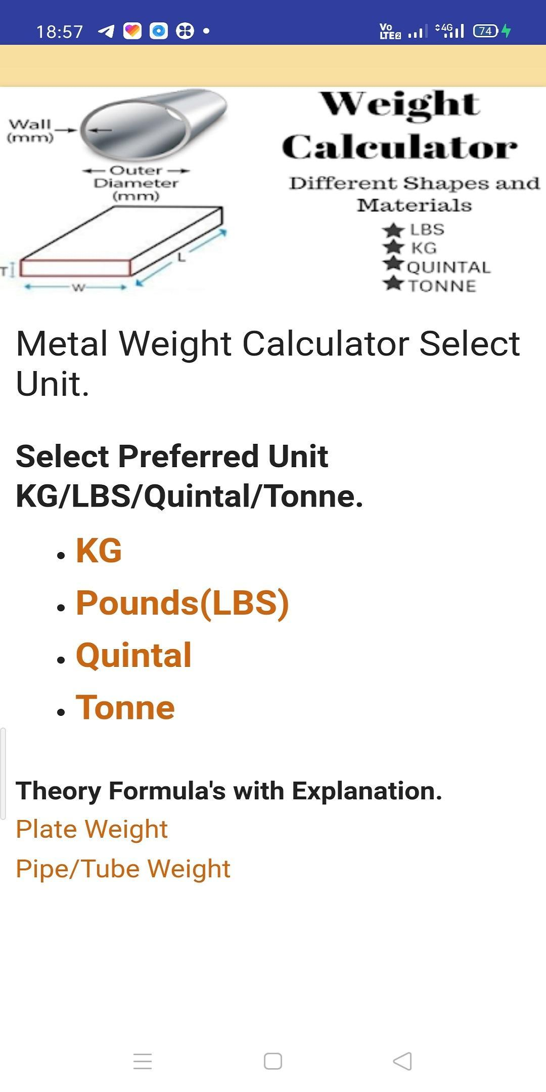 Metal Weight Calculator Plate Pipe Bar Steel Free For Android Apk Download