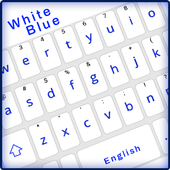 Simple Blue White Keyboard,English keyboard typing icon