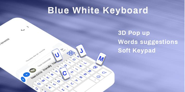 Simple Blue White Keyboard,English keyboard typing poster