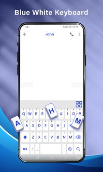 Simple Blue White Keyboard,English keyboard typing screenshot 1