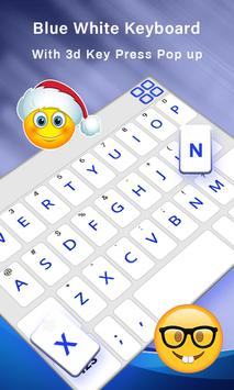 Simple Blue White Keyboard,English keyboard typing screenshot 2