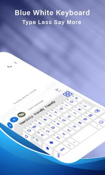 Simple Blue White Keyboard,English keyboard typing screenshot 4