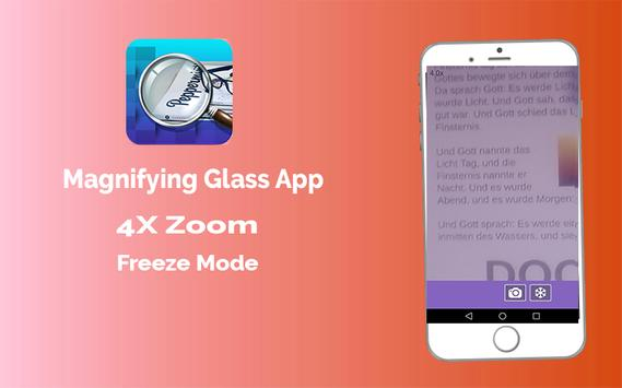 Magnifier App with Deep freez and Flashlight poster