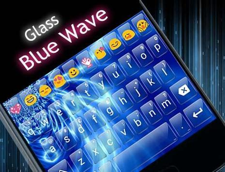 Glass Blue Wave Emoji Keyboard screenshot 5