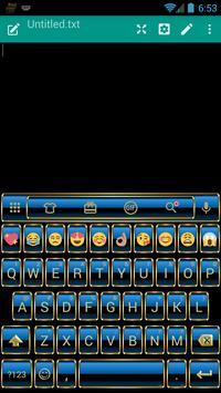 Frame Blue Gold Emoji Keyboard poster