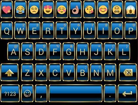 Frame Blue Gold Emoji Keyboard screenshot 4