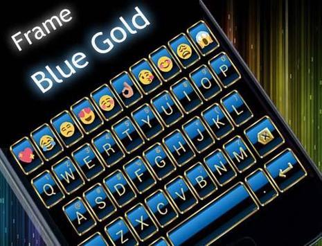 Frame Blue Gold Emoji Keyboard screenshot 5