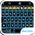 Neon Blue Emoji Keyboard Theme