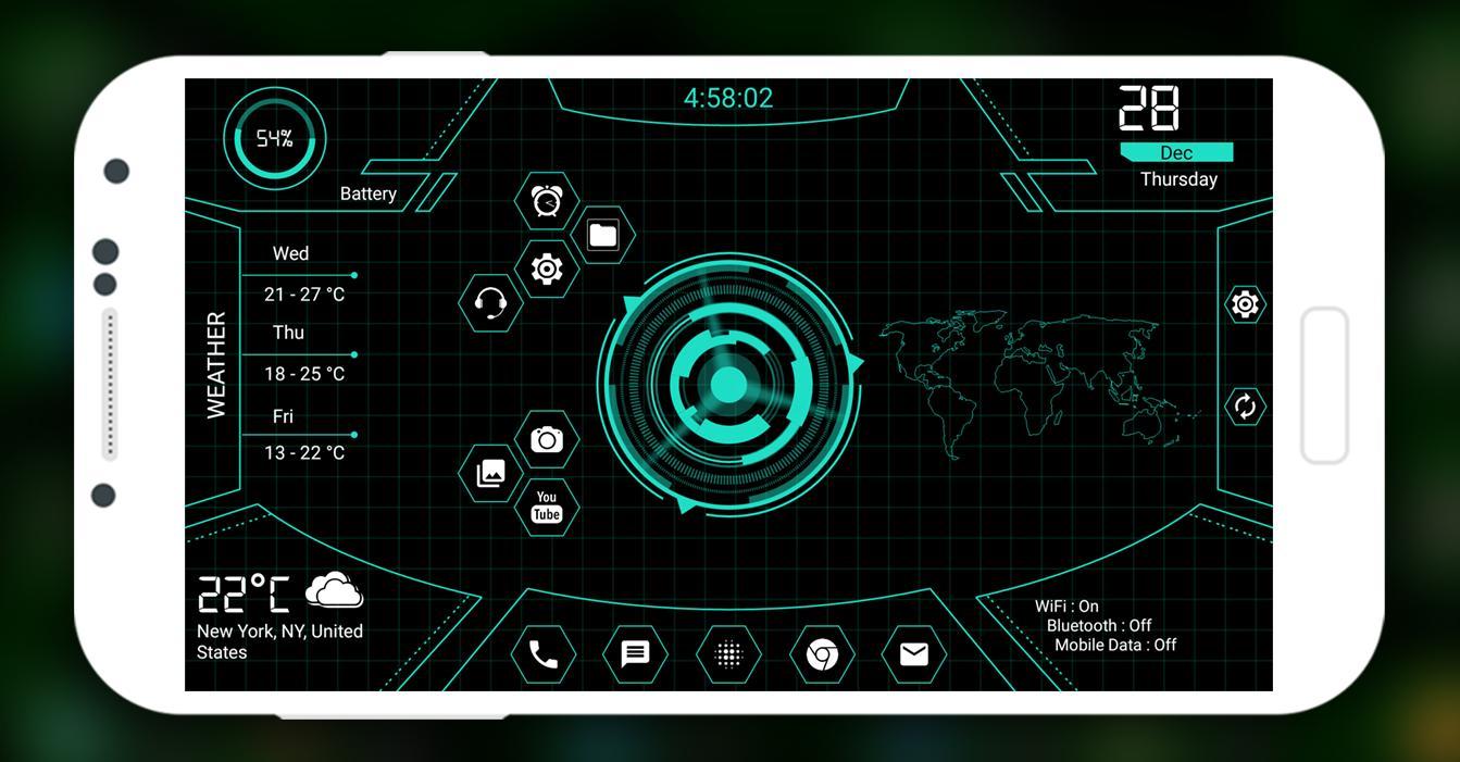 Hitech Futuristic Launcher 2019 - Landscape Mode for Android - APK