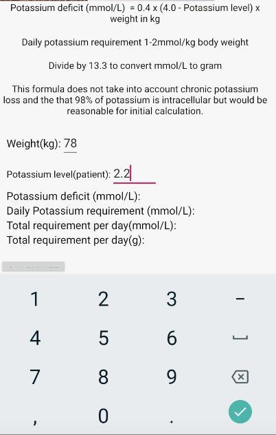 Calculator potassium replacement Transtubular Potassium