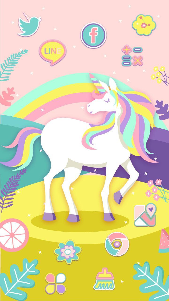 Cute Rainbow Unicorn Theme Pink Wallpaper Icon For Android Apk Download