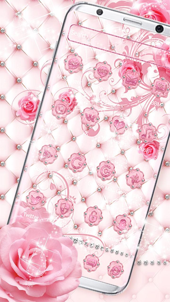 Android 用の ロマンチックなピンクのダイヤモンドのバラのテーマ