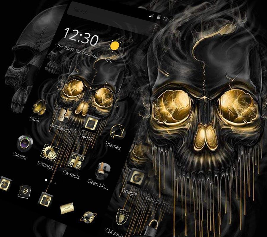 Gold Black Horrific Skull Theme For Android Apk Download