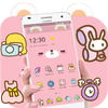Pink Cute Cartoon Bear Theme ikona