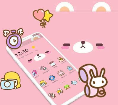 Pink Cute Cartoon Bear Theme Affiche
