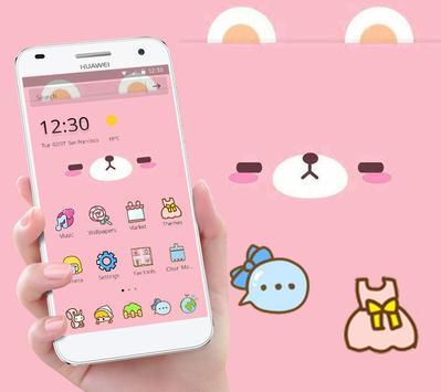 Pink Cute Cartoon Bear Theme capture d'écran 1