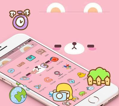 Pink Cute Cartoon Bear Theme capture d'écran 2